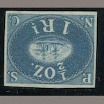 "1857 1r blue (1) deep rich color, unused, certificate states ""small adherences on back"", barely visible, still very fine, with A.P.S. certificate (2002). $1,700.00"