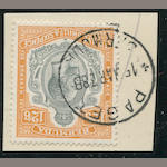 1924-32 12sh 6p gray & orange (97, S.G. 93) tied on piece by neat and scarce PSAGET 15MAR38 c.d.s., very fine. $425.00 (S.G. L375)