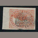 3p red (4) right sheet margin copy, neat target cancel, superb stamp. $225.00+