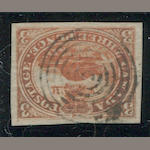 3p red (4) large margins all round, target cancel, very fine. $225.00