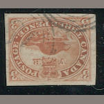 3p red, thin paper (4d) good to large margins all round, lightly cancelled, extremely fine. $225.00