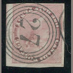 "1/2p rose (8) margins enormous to clear showing portion of adjacent stamp at right, beautiful ""27"" in four ring cancel, very fine. $700.00"