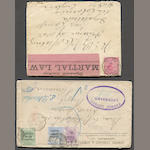 South Africa & Vicinity 1894 to 1901 group of eight envelopes and three postal cards from Orange River Colony, Transvaal, Natal, and the Cape, includes Martial Law, POW, Censor, wonderful frankings and destinations. Est. Cash Value $300-400
