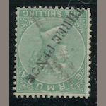 1874 THREE PENCE on 1sh green (10, S.G. 14) lightly cancelled, fine, with A.P.S. certificate (1985). $950.00 (S.G. L650)