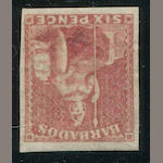 1859 6p rose red (8, S.G.11) good to huge margins all round, small faults not mentioned in P.F. certificate (1977), otherwise very fine. $850.00 (S.G. £750)