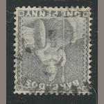 "1875-78 1p gray blue wmk. sideways (51c var, S.G. 74a)  beautifully centered, neat ""head free"" cancel, extremely fine and very rare, with R.P.S. certificate (1986) S.G. £850"