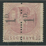 "1878 1d on 5sh dull rose (57a, S.G. 86b) unused unsevered pair, straight edge at bottom as always, fresh bright color and paper, certificate states ""strengthened horizontal crease"", otherwise almost very fine. Brandon certificate (2008)  $25,000.00 (S.G. £24,000)  Far better appearance and condition than the majority of the seven unused pairs available to the public of which two are imperforate. Two other examples reside in the Royal Collection and there is, of course, the unique strip of four."