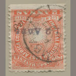 "British East Africa, 1891 ""1/2 Anna"" on 2a vermilion (S.G. 20) value obliterated, initials ""AD"" in ms.,bottom sheet margin copy, light MOMBASA AP27 c.d.s., very fine, with Brandon certificate (2000) S.G. £850"