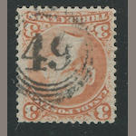 "1868 3c bright red (33) on laid paper, quite well centered, distinct inverted ""49"" in circles cancel, couple of trivial imperfections, very fine appearance. $2,000.00"