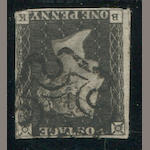 1840 1p black plate 11 (1, S.G. 1) good to clear margins, just in at bottom right, black maltese cross cancel, fine copy of this very rare stamp. $4,500.00 (S.G. £4,000)