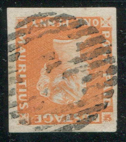 "1848 1p orange-vermilion on yellowish paper position 4 (3, S.G.3) brilliant color, large to enormous margins all round with neat nearly head free circle of bars cancel with ""3"" (Souillac)in center cancel (Kanai 11 E-3), two faint thins and minor pinhole, superb appearance.Ex Hind (1934 lot 262), R.J. Stevens (1964), with Brandon certificate (2011). A stunning stamp from the scarcest of impressions.  $17,500.00 (S.G. £15,000)  First recorded in the Hind sale (Harmer 1934 lot 262). Hind probably purchased it in the 1920's as part of the enormous H.J. Duveen collection of which he bought much of the Mauritius. The Harmers again sold this copy in 1964 as part of the R.J. Stephens collection."