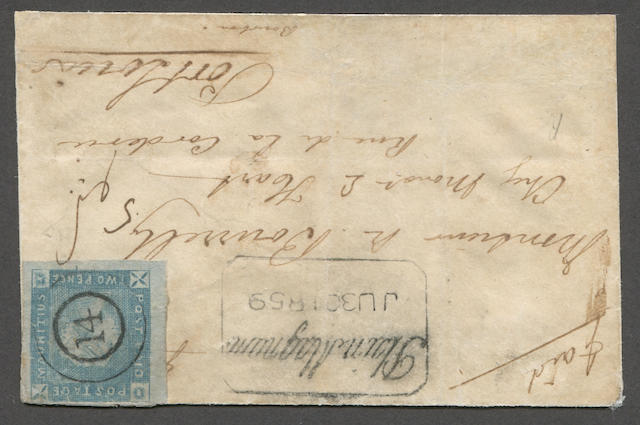 "1859 Lapirot issue 2p blue (14, S.G. 37) position 7, enormous margins to clear at top, minor faults, ""14"" in circle cancel and tied by manuscript on neat envelope (restored at bottom) bearing fine boxed ""Plains Magnum JU 30 1859"" (Kanai 11B-3) handstamp, ms. paid and addressed to  Port Louis with July receiver on reverse. With Brandon certificate (2011).  Est. Cash Value $6,000-8,000  Kanai states that there are seven Early Impression covers. We note: 1] Kanai, one combination cover 2-4] Dale Lichtenstein - none certified, 5] Ferrari. The D. Feldman pricing guide lists the Early Impressions on cover at $35,000, higher than all but the Barnard Issue Earliest Impressions."