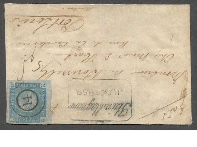 """1859 Lapirot issue 2p blue (14, S.G. 37) position 7, enormous margins to clear at top, minor faults, """"14"""" in circle cancel and tied by manuscript on neat envelope (restored at bottom) bearing fine boxed """"Plains Magnum JU 30 1859"""" (Kanai 11B-3) handstamp, ms. paid and addressed to  Port Louis with July receiver on reverse. With Brandon certificate (2011).  Est. Cash Value $6,000-8,000  Kanai states that there are seven Early Impression covers. We note: 1] Kanai, one combination cover 2-4] Dale Lichtenstein - none certified, 5] Ferrari. The D. Feldman pricing guide lists the Early Impressions on cover at $35,000, higher than all but the Barnard Issue Earliest Impressions."""