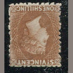 St. Vincent, 1862-68 Ish brown perf. 11-12 1/2 (10, S.G.14) perforation all round, original gum, almost very fine. $600.00 (S.G. £500)