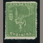 Trinidad, 1859 6p yellow-green perf. 13 1/2 - 14 (25, S.G. 42) perforations all round and clear of design, o.g., very fine. S.G. £600