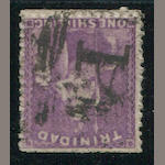 "Trinidad, 1862-63 1sh bright violet (47, S.G. 67) full perforations all round, ""A14"" cancel, very fine. S.G. £300"