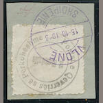 Albania, 1913 1pa black Handstamp without Eagle (20a) sewing machine perforations tied on piece by violet VLONE 15 10 1913 (2nd day cancel. almost very fine. $575.00