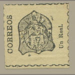 1865 1r black on pale yellow (4) laid paper, dividing lines complete or evident all round, ungummed, almost very fine. $1,700.00