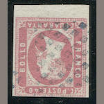 Italian States, Sardinia 1851 Victor Emmanuel 40c Rose (3) bottom sheet margin copy, other margins good to clear, fresh bright color, nearly very fine copy of this rare stamp. $4,250.00