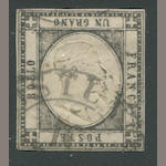 "Italian States, Two Sicilies, Neopolitan Provinces 1861 1g black Inverted Head (21a) margins all round, light TURIN cancel, couple ""small filled thins"", still fine and rare, P.F. certificate (2010), signed Diena. $1,800.00"