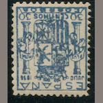Spain, 1936 Civil War 30c dark blue (617) lightly hinged, fine. $550.00