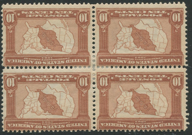1c-10c 1904 Louisiana Purchase Issue (323-327) blocks of four, all stamps o.g., h.r., fine set. $1,340.00