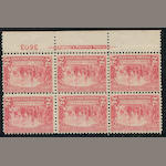 1907 Jamestown Exposition, 2c red (329) bottom imprint and plate number block of six, never hinged, couple of gum spots, fine block. $625.00