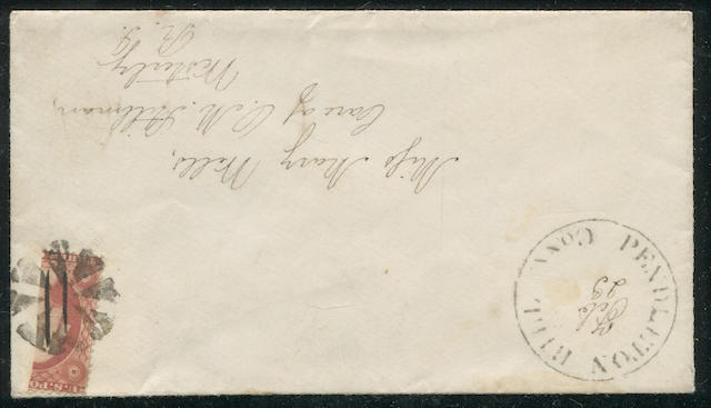 "1857 3c dull red bisect ""tied"" by segmented cork cancel on envelope bearing PENDLETON HILL CONN to Rhode Island. Est. Cash Value $75-100"