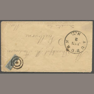 "1857 12c black bisect ""tied"" by target on envelope bearing AUBURN JAN 2 N.Y. c.d.s. to Mass Est. Cash Value $75-100"