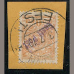 "Estonia, 1919 IK orange similar to the last, ""tied"" on piece, appears very fine, Scott retail for genuine $5,000.00. Est. Cash Value $150-200"