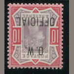 Great Britain, OW Official 1902 10p dull purple & carmine o.g., forged overprint, retail £4,800.00 for genuine, appears very fine. Est. Cash Value $75-100