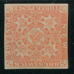New Brunswick, 1851 3p red reprint in issued color appearing as an unused stamp, retail $3,000.00 for genuine, fine appearance. Est. Cash Value $100-150