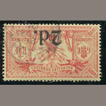"New Hebrides: British 1920 2p on 40c red (SG 35) wmk RF used, appears very fine, with B.P.A. certificate stating ""genuine stamp and surcharge with forged obliteration"", Scott retail for genuine £625.00. Est. Cash Value $75-100"