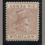 "Antigua, 1882 2 1/2p red brown wmk Crown CA Perf. 14 var. large ""2"" with slanting foot (S.G.19a) o.g., light diagonal crease, still very fine. Ex. B.J. Hunter. R.P.S. certificate (1955) S.G. £10,000 According to Charles Freeland only four or five copies exist. There were no examples in the Charlton-Henry or Toeg sales, and surprisingly not even the recently offered Alexander Reid Collection. The Mayer copy (sound) realised £5,500.00"