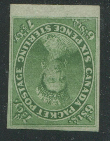 7 1/2p green (9) good margins all round to sheet margin at bottom, bright fresh color, original gum, extremely fine, an exceptional stamp, with B.P.A. certificate (1991)