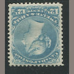 1868-76 12 1/2c milky blue (28) original gum, slightly glazed, fresh and very fine. $1,200.00
