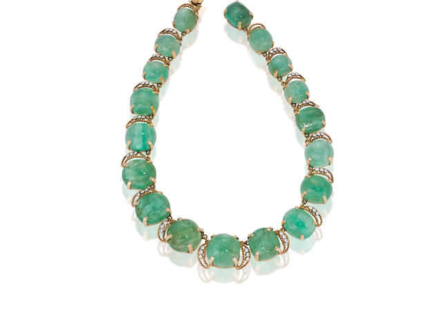 A green beryl and diamond necklace, Seaman Schepps,