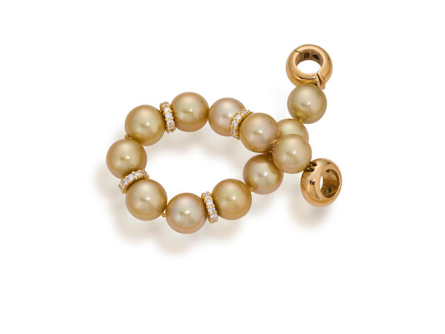 A South Sea cultured pearl and diamond bracelet
