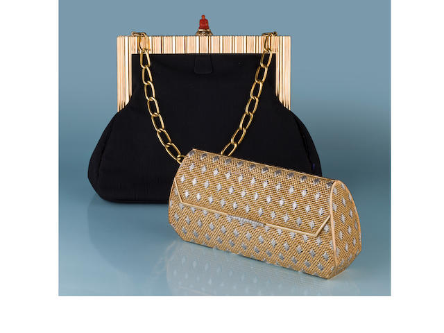 An eighteen karat bicolor gold and diamond handbag