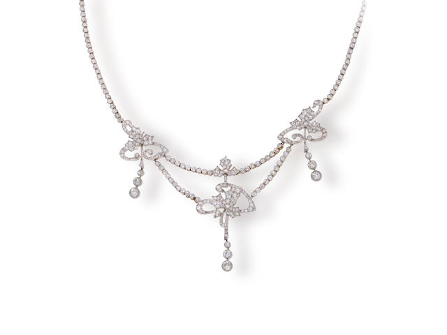 A belle époque diamond necklace,
