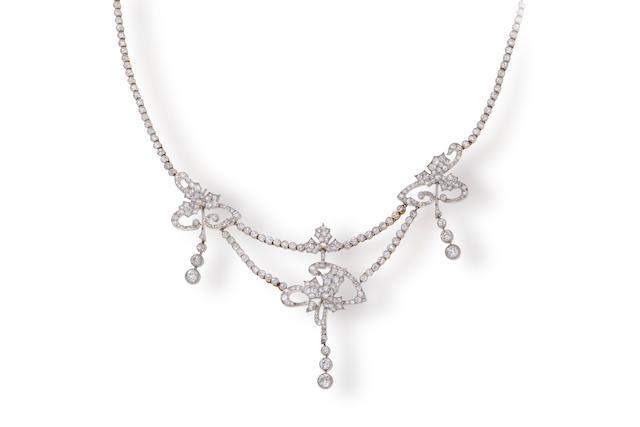 A belle époque diamond necklace,