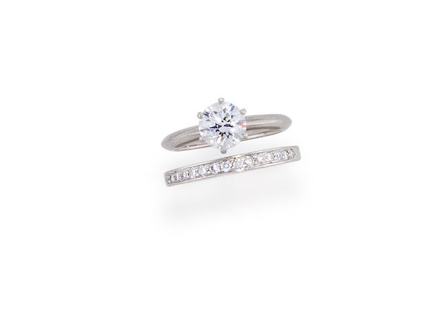 A diamond solitaire ring and diamond band, Tiffany & Co.