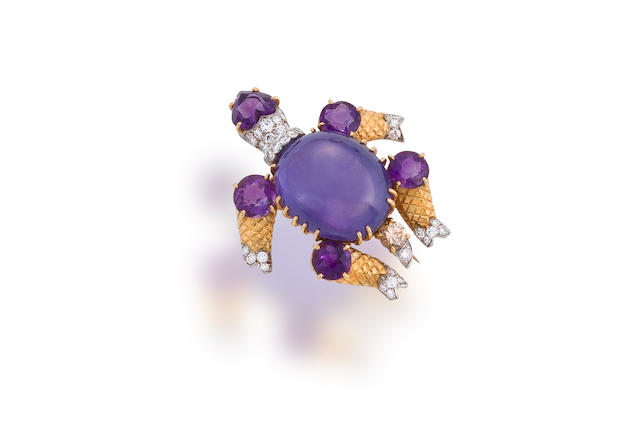 A color-change star sapphire, amethyst, and diamond brooch, Cartier,