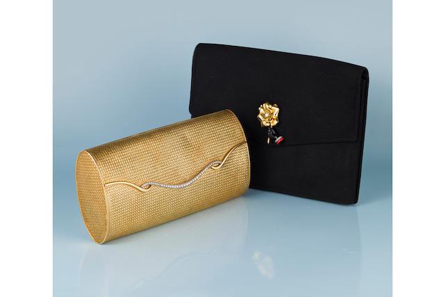 An eighteen karat gold and diamond handbag
