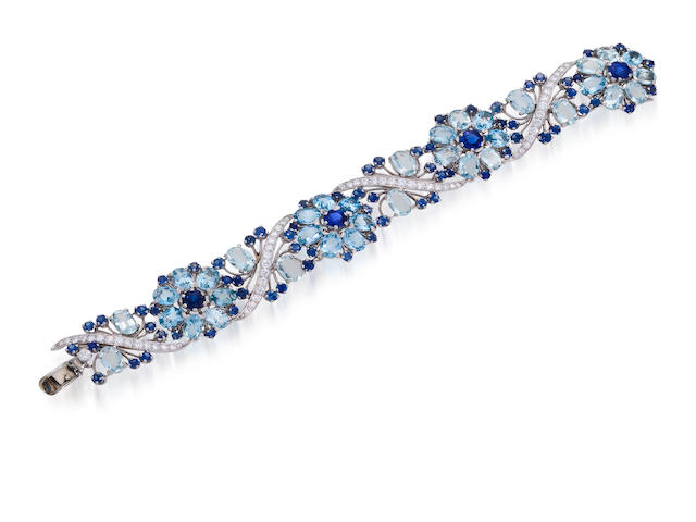 An aquamarine, sapphire and diamond bracelet