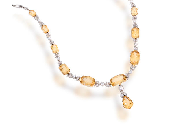 A belle époque topaz and diamond necklace,