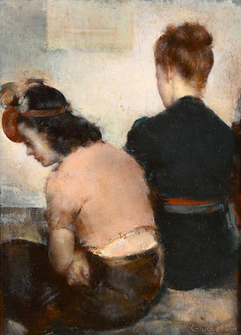 Grigory Gluckmann (Russian/American, 1898-1973) Backstage 16 1/4 x 12in