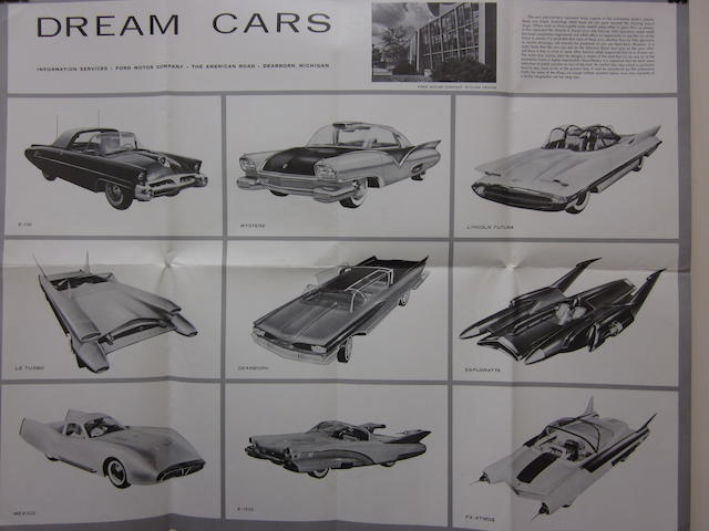 A lot of three vintage showroom posters for Mercury, Lincoln and Ford concept cars, 1957,