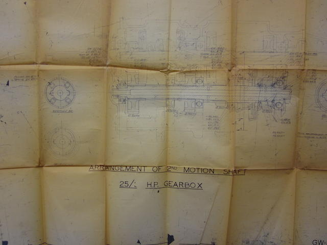 A lot of blueprints for a Rolls-Royce 20-25 Wraith and Phantom III,