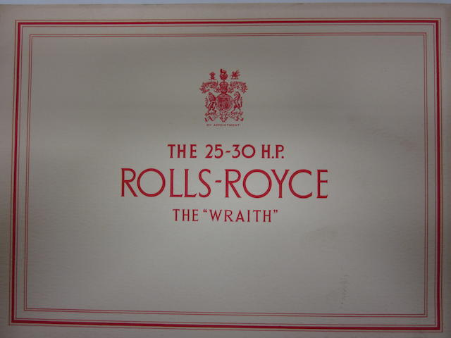 A good 1939 Rolls-Royce 25-30H.P. Wraith sales brochure,